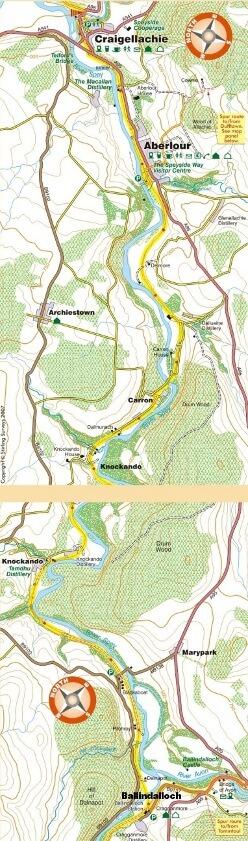 Craigellachie to Ballindalloch map