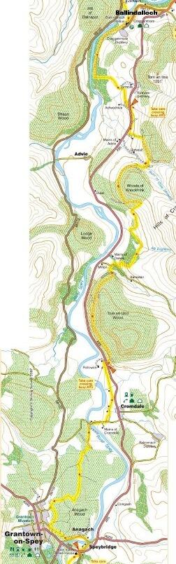 Ballindalloch to Grantown map