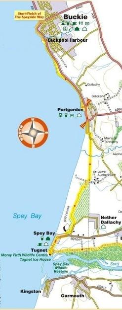 Buckie to Spey Bay map