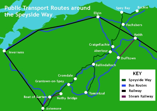 Public transport routes around the Speyside Way