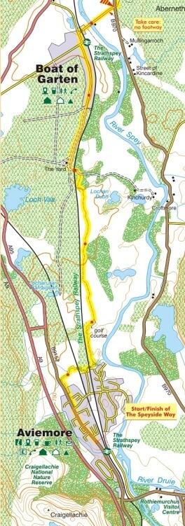 Boat of Garten to Aviemore map