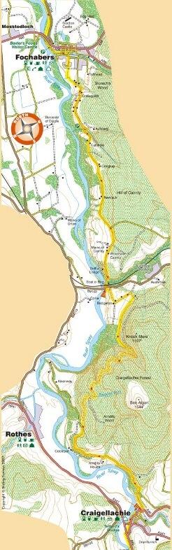 Fochabers to Craigellachie map