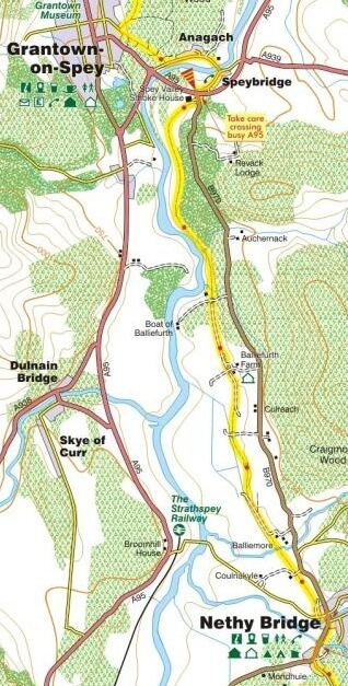 Grantown to Nethy Bridge map