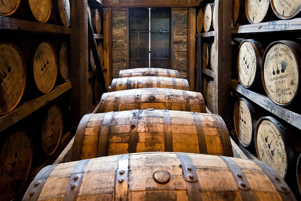 distillery barrels and wooden kegs